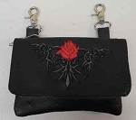 Black w/ Rose Belt Loop Purse, 2168