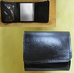 Lutzs Black Leather Tri-fold Wallet w/ ID Window, 3099