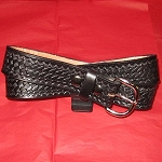 Belt Black Basket Weave 1 1/2 Inch Leather