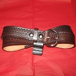 Lutzs Brown Basket Weave 1 1/4 Inch Leather Belt