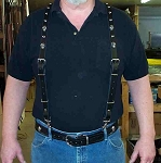 Lutzs Black Leather Suspenders w/ Skulls & Studs