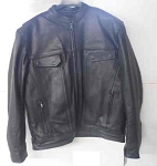 Black Leather Unik Scooter Jacket, 6610