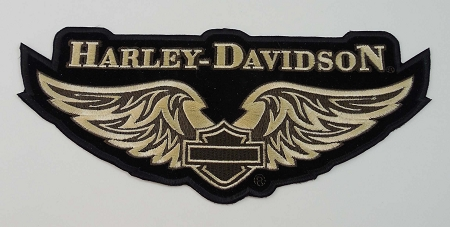 Home > Embroidered Patches > Eagles > Harley Davidson Golden Wings Embroidered  Patch, HD69
