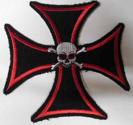 Black Cross Outlined In Red w/Skull Patch, HC564