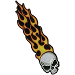 Long Flaming Skull Embroidered Patch, p25