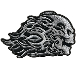 Head Butt Tribal Skull Embroidered Patch, p44