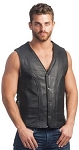 MENS LEATHER VEST WITH GUN POCKETS