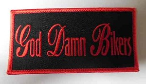 """God Damn Bikers"" Patch, HC569-RED"