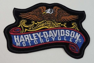 Harley Davidson Eagle Banner Embroidered Patch, HD34
