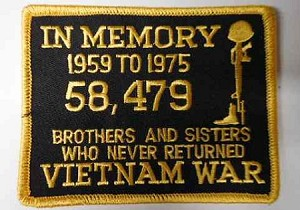 """In Memory...Vietnam War 1959-1975"" Patch, PM1344"