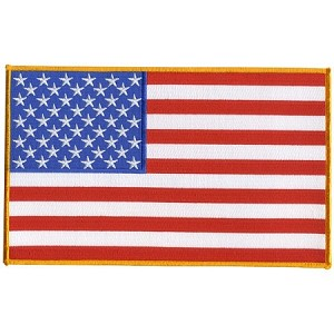 AMERICAN FLAG w/ Gold Boarder Embroidered Patch, p6, p46