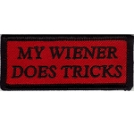 MY WIENER DOES TRICKS Embroidered patch, p305