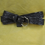 Lutzs Black Acorn 1 1/4 Inch Leather Belt