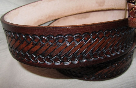 Lutzs Brown Rope 1 1/4 Inch Leather Belt