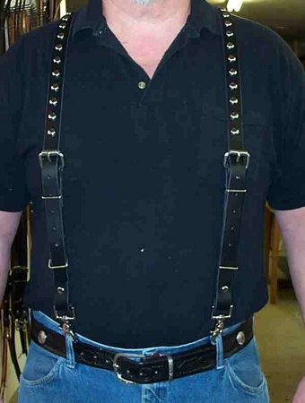 Suspenders Lutzs Black Leather  w/ Studs
