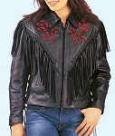 Ladies Premium Red Rose Leather Jacket, 0453.01
