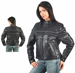 Ladies Premium Reflective Leather Jacket, 0563.GO