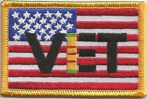VET on American Flag w/ ribbon, 020-536a
