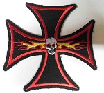 Black Iron Cross Red Outline w/ Skull & Flames Patch, HC562