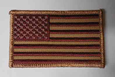 Red And Brown American Flag Patch, PM1114
