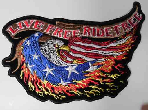 Live Free Ride Free Flag Eagle