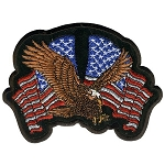 Eagle w/2 US Flags Embroidered Patch p406,
