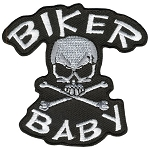 BIKER BABY SKULL N  BONE embroidered Patch