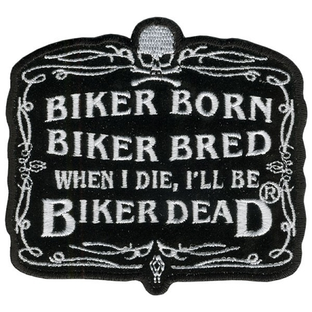 BIKER BORN Embroidered Patch, p602