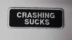 Crashing Sucks embroidered patch, p93