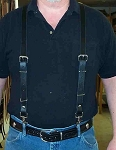 Suspenders Lutzs Plain Black Leather