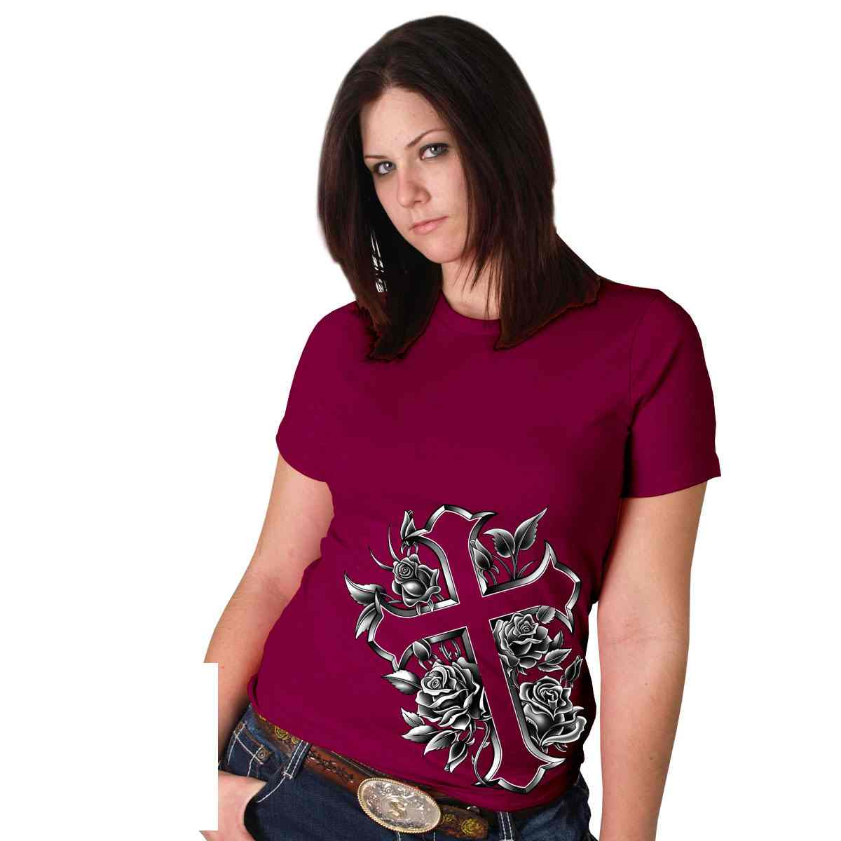 Silver Foil Cross Full Cut Ladies T-Shirt, GLR1214