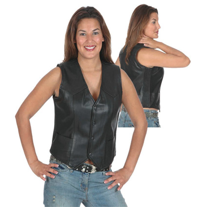 Women s Stretch Panel Leather Vest, 6534.00