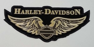 Harley Davidson Golden Wings Embroidered Patch, HD69