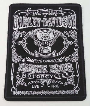 Harley Davidson Black & White Emblem Patch, HD91