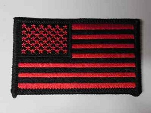 Black And Red American Flag Patch, P248