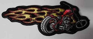 Flaming Motorcycle Patch, PP1344