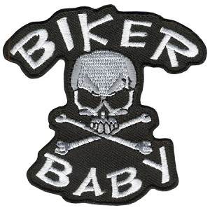 BIKER BABY SKULL N  BONE embroidered Patch p597